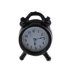 attrasfjwanrw Classic Alarm Miniature Accessory Collection Clock 1/12 Dollhouse Ornament Black