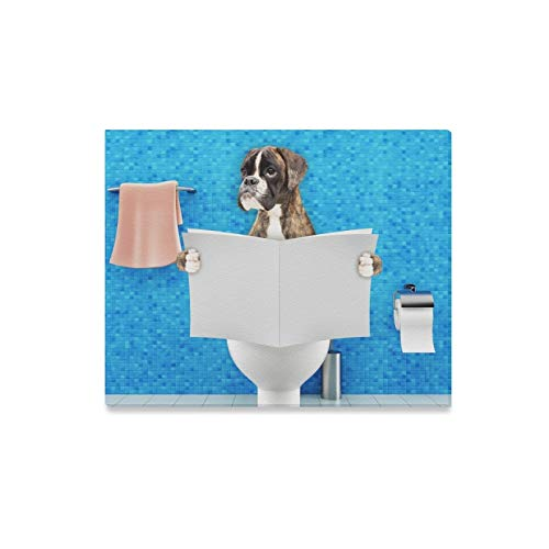 XINGCHENSS Wall Art Painting Boxer Dog Sitting On Toilet Seat Prints On Canvas The Picture Landscape Pictures Oil for Home Modern Decoration Print Decor for Living Room ()