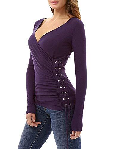 di Fit con Lacci Primaverile di Lunga Violett Accogliente Metallo Fibbia in Bluse Camicetta Monocromo Camicie Neck Shirts Marca Slim V Manica Donna Mode Blusa Eleganti Uwv0f