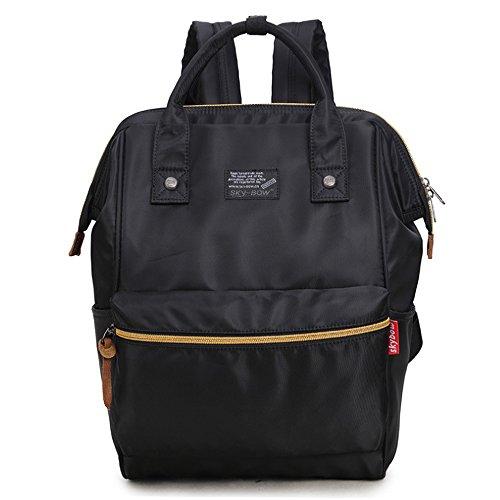 (JVP1077-L) Rucks de las mujeres Bolso de hombro del bolso de nylon Anillo impermeable Anillo de la escuela secundaria Estudiante de gran capacidad Volver a la moda Popular Escuela linda Luz suburbana Negro 1