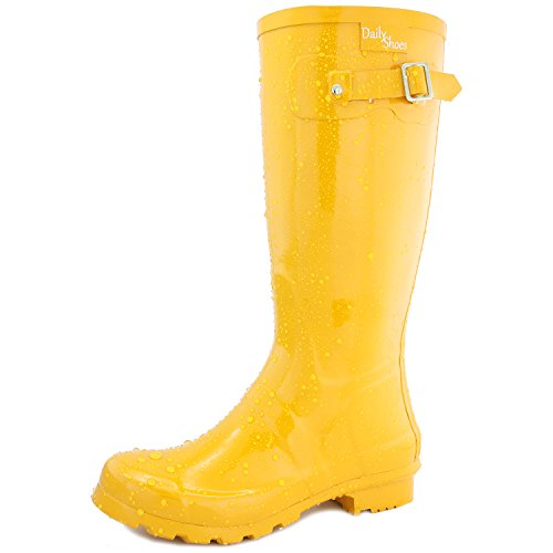 DailyShoes Women's Mid Calf Knee High Hunter Rain Boot Round Toe Rainboots, 9 by DailyShoes