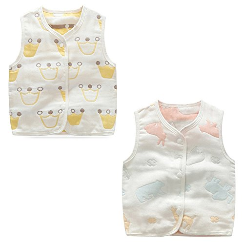luyusbaby Baby Cotton Warm Vests Unisex Infant to Toddler Colorful Waistcoat,Sheep+Animals,XL