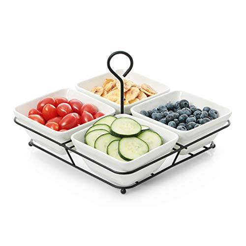 Square Basket Serving - 4 Piece Condiment Server Set, Tabletop Serving Trays for Parties, Serving Bowls for Parties with Rack Holder, Ceramic Dip Bowls for Snacks, Relish Tray for Entertaining