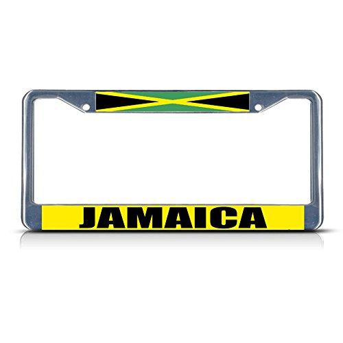 (Jamaica Flag Metal License Plate Frame Tag Border Two Holes Perfect for Men Women Car garadge)
