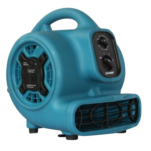 (XPOWER P-230AT 1/5 HP 800 CFM 3 Speeds Mini Air Mover with 3-Hour Timer and Built-In Dual Outlets for Daisy Chain, 2.3-Amp )