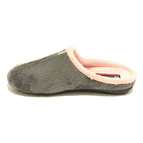 Zapatillas Vulca Bicha Gris y Rosa - Slippers Grey and Pink - Gris, 36