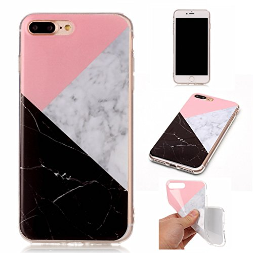 Custodia per iPhone 8 Plus, Custodia per iPhone 7 Plus ,JIENI Protezione TPU Marmo naturale naturale di alta qualità Tre colori Morbido Bumper Cover Silicone Case per iPhone 8 Plus (2017) et iPhone 7