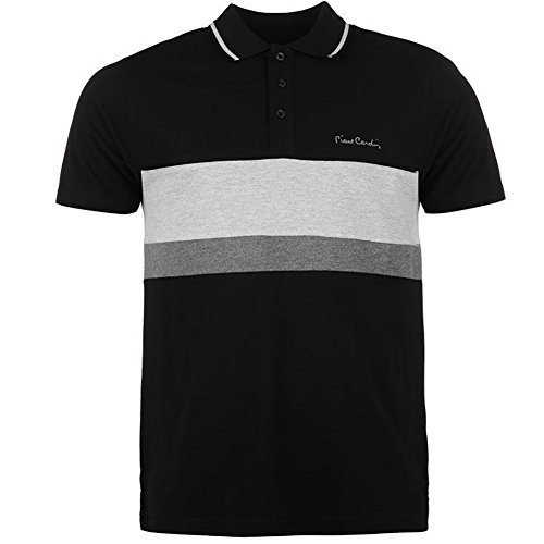 Pierre Cardin New Season Mens 100% Cotton Cut and Sew Stripe Panel Tipping Collar Pique Polo Shirt (3XL, Black/Grey MARL) (Pierre Cardin Clothes)