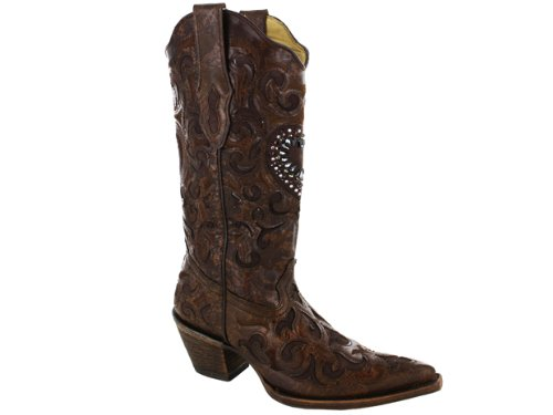 - CORRAL Women's Burnished Goatskin Crystal Heart Pointed Toe Cowgirl Boots C1110 (6 B(M) US) Cognac