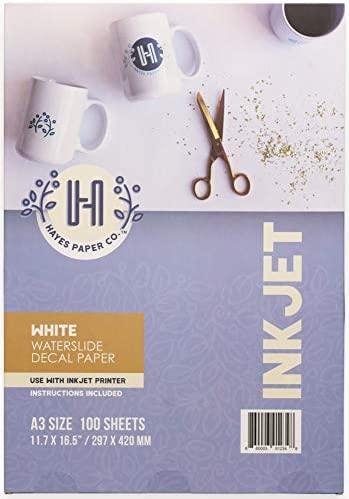 Hayes Paper Co. Waterslide Decal Paper Inkjet WHITE – Decal Paper for Inkjet Printer – A3 Water Transfer Paper, 100 Sheets (11.7 x 16.5)