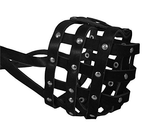 Real Leather Dog Basket Muzzle #114 Black (Circumference 17.3