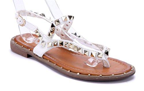 Schuhtempel24 Damen Schuhe Zehentrenner Sandalen Sandaletten Flach Nieten  Weiß 7684ac600a