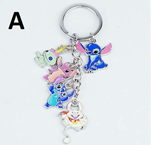 PAPRING Lilo Toy 0.8 - 1.3 inch 5in1 Keychain Stitch Scrump Angel Alien Disney Cartoon Small Keyring Tiny Zinc Toys Christmas Halloween Birthday Gift Cute Accessories New Doll Collectible for Kids (A)]()