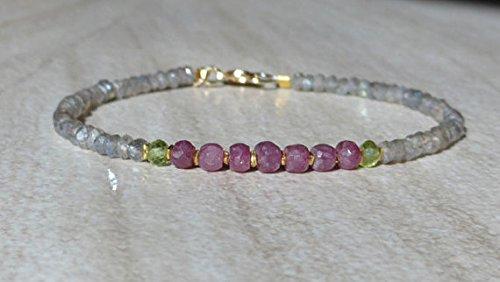JP_Beads Sapphire Bracelet, Pink Sapphire Bracelet, Ruby Bracelet, Labradorite Bracelet, Dainty Bracelet, Gemstone Bracelet, Beaded Bracelet 3.5 mm