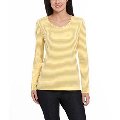 Ellen Tracy Long Sleeve Scoop Neck Top YELLOW/HITE STRIPE LARGE