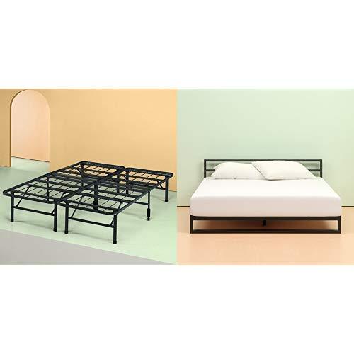 Zinus Set,Queen 6 Inch Green Tea Memory Foam Mattress and Shawn SmartBase Platform Bed Frame / Mattress Foundation by Zinus