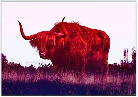 baodanla Imprimir Lienzo de Pintura Fotos de Animales de Ganado Highland Regalo Art Print Poster Wall Decor Home Decoración moderna40x50cm(Sin Marco)