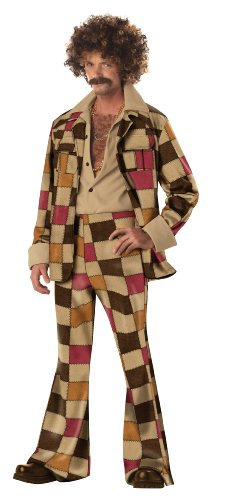 California Costumes Men's Disco Sleazeball Costume, Brown, Medium -