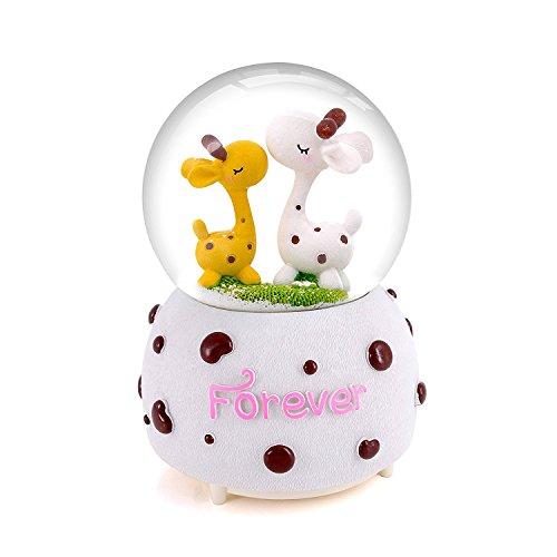 Porlik Snow Globes Musical Ornament, Deer Couple with Led Light and A Drifting Snow, Home Decor Gift (Drifting Snow)