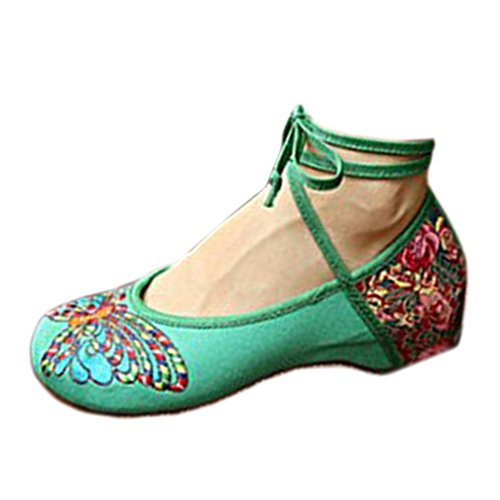 Donna Balletto Scarpe Mary Ricamati Jane Cinesi Hudie Floreali Ballerina Loafer Verde Ballerine D'epoca Cotone BUHwwq6