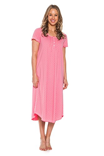Patricia Women's 46'' Long Sleepshirt Nightgown Sleepwear (Strawberry, X-Large)