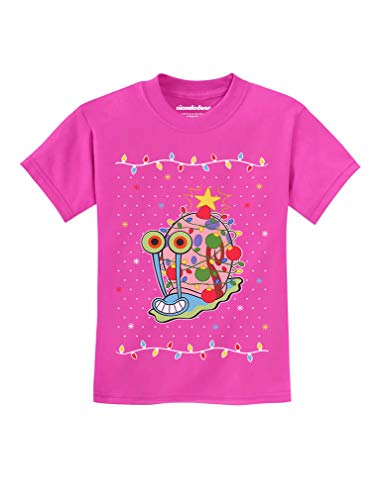 Tstars - Spongebob - Gary The Snail Christmas Toddler Kids T-Shirt 5/6 Pink