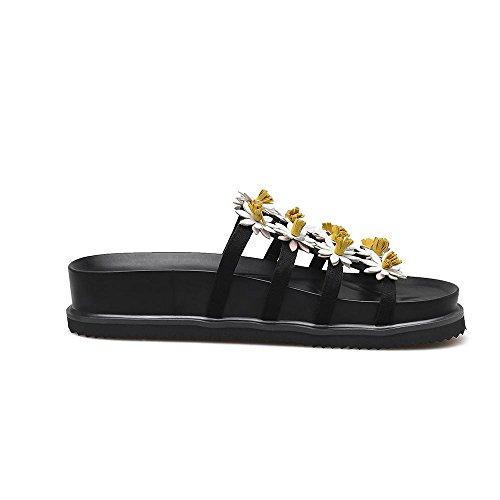 GJDE La Sra Deslizadores Flores de Verano Sandalias de Cuero Zapatos Planos Ocasionales de Fondo Grueso black (3cm thick bottom)