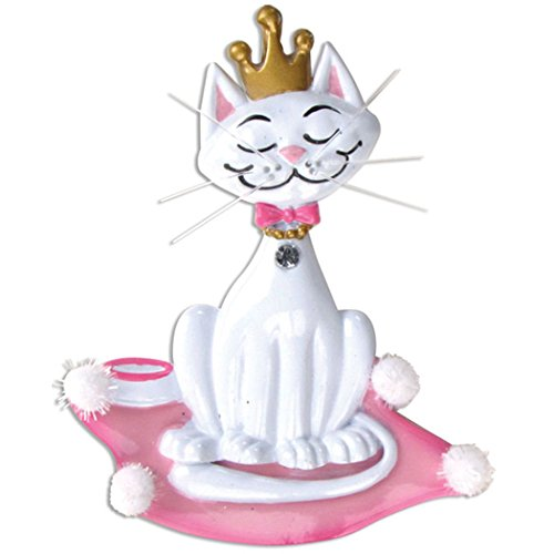 Personalized Kitty Princess Christmas Tree Ornament 2019 - White Cat Crown on Pink Royal Pillow Breed Neutral Purr Faithful Friend Fur-Ever Aww Balinese Persian Gift Year - Free Customization