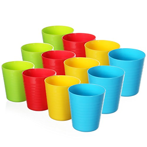 - 12 Pack - Kids Unbreakable Tumblers - 8 Oz Fun Bright Color Drinking Cups in 4 Vibrant Colors (3 of Each Color) - Perfect Size for Kids and Toddlers - BPA Free