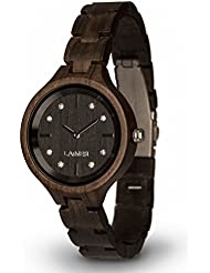 LAiMER Womens Wooden Watch MARIA DARK - Wrist Watch made of natural Maple Wood refined with Swarovski Crystals...