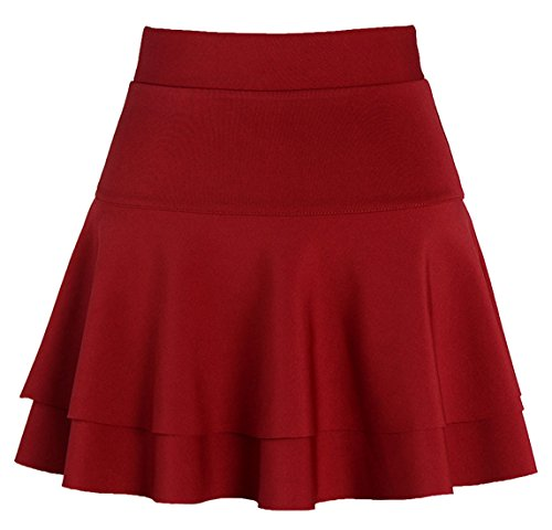 Chouyatou Women's Stretched Versatile Flare Tiered Skater Skirts with Shorts (Medium, Dark Red)