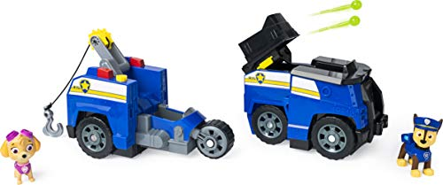 Paw-Patrol-Chase-Split-Second-2-in-1-Transforming-Police-Cruiser-Vehicle-with-2-Collectible-Figures