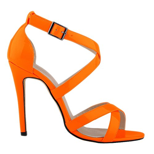 Heels Ankle Women's Sandals High Leather Patent PU Loslandifen Strap Orange Pumps fOpqWa