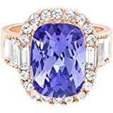 Devin Rose Large Cocktail Ring for Women in Rose Gold Plated Brass Made with Swarovski Crystals (Tanzanite Color Size 7)