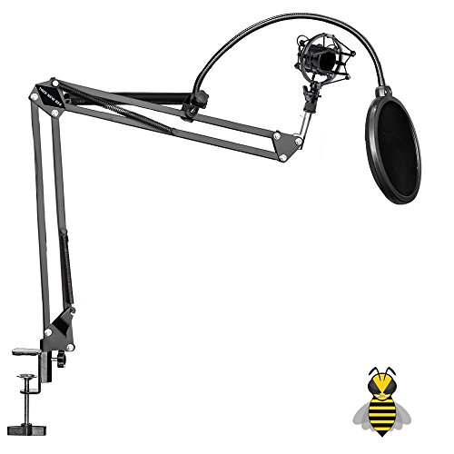 Tree New Bee 2016 Pro Complete Set Microphone Suspension Boom Scissor Arm Stand with Mic Round Wind Pop Filter Mask Shield and Black Shock Mount (TNB-ARM02)