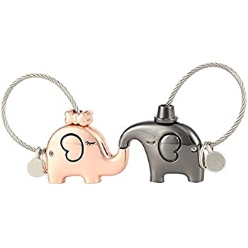 Keychain Couple Love Token 1 Pair Kissing Elephants Key Chains Valentine s  Love Present e581a16cb