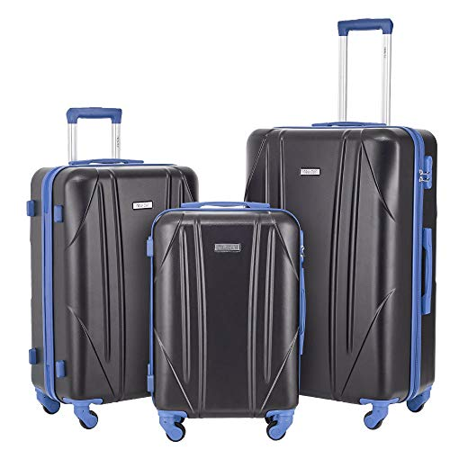 Newtour Luggage Sets 3 Pieces Suitcase with Spinner Wheels Hardshell Lightweight luggage Travel 20in 24in 28in (Black & Blue)