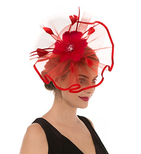 - SAFERIN Fascinator Hat Feather Mesh Net Veil Party Hat Flower Derby Hat with Clip and Hairband for Women (TA1-Red)