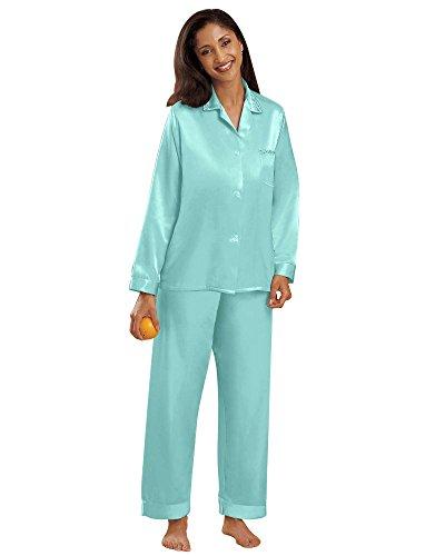 (National Brushed Back Satin Pajamas, Aqua, Large - Misses, Womens)