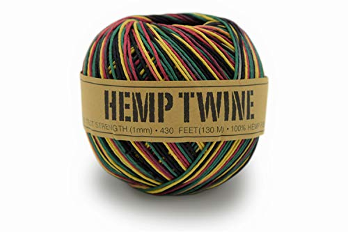 (100% Hemp Twine Ball 1MM, 100G/430 Ft. - 20 lb. Test Strength - Rasta)