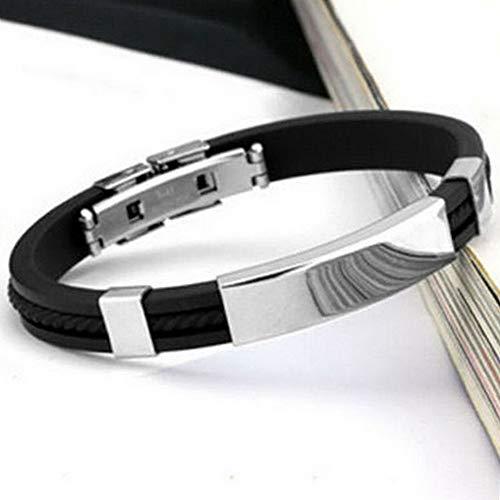 Florance Jones Mens Womens Stainless Steel Black Rubber Wristband Bangle Clasp Cuff Bracelet | Model BRCLT - 1778