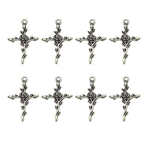 - Monrocco Pack of 40 Antique Silver Cross Charms with Rose Flower Pattern Alloy Religious Cross Charms Jewelry Making Findings, 23x34mm