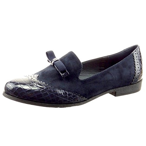 ... blocco 2 CM - Blu. Sopily - Scarpe da Moda Mocassini ballerina alla  caviglia donna nodo pelle di serpente perforato Tacco