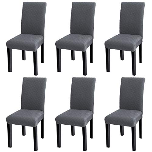 YISUN Modern Stretch Dining Chair Covers Removable Washable Spandex Slipcovers for High Chairs 4/6 PCs Chair Protective Covers (Grey/Jacquard Pattern, 6 PCS)