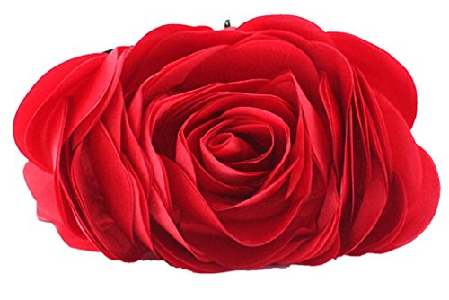 Red Shoulder Bag Purse (Bywen Womens Rose Pattern Purse Party Clutch Shoulder Bags Red)