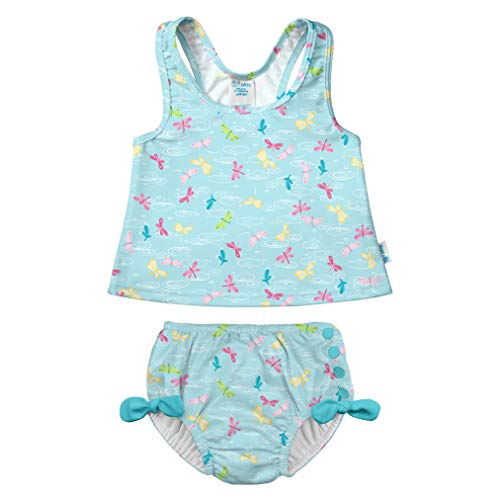 i play. Baby Girls Two-Piece Bow Tankini with Snap Reusable Swimsuit Diaper, Light Aqua Dragonfly Pond, 6mo ()