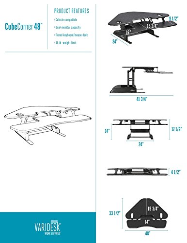 Height-Adjustable Standing Desk for Cubicles - VARIDESK Cube Corner 48 - Black
