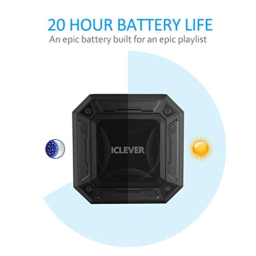 iClever Portable Bluetooth Speakers with Enhanced Bass, 12-Hour Playtime, Aux-in Port, IPX7 Waterproof, Shockproof, Wireless Outdoor Speakers for Beach, Biking, Shower, Home, Black