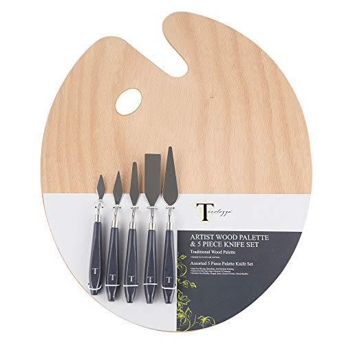 Tavolozza Wooden Artist Palette and Palette Knife 6 pcs Set ...