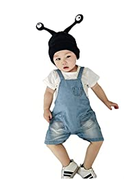 Summer Baby Boys/Girls Cute Blue Adjustable Bib Denim Shorts Overalls